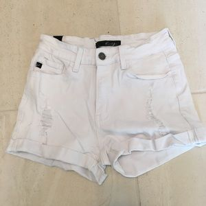 High waisted distressed white shorts